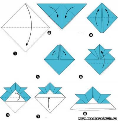 Схема оригами шапка из газеты.